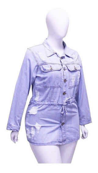 Jaqueta Jeans Plus Size Parka Feminina Tamanhos Grandes