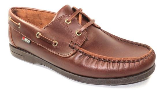 Zapatos Caballero Tipo Náutico En Cuero Marrón Febo