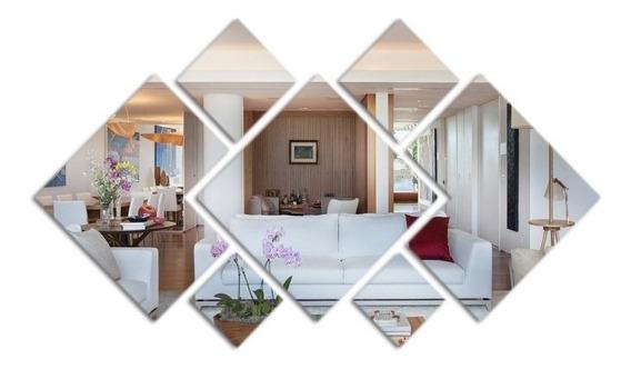 Espelho Decorativo Acrílico 100x50cm 7peças Quarto Sala1013