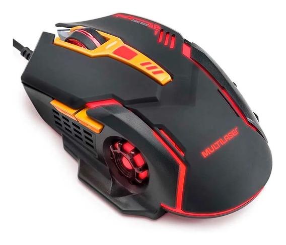 Mouse Gamer Multilaser 2400dpi 6 Botões Preto/laranja Mo270