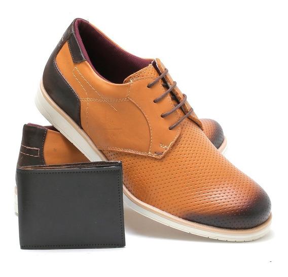 Sapato Social Casual 100% Couro Masculino Oxford + Carteira