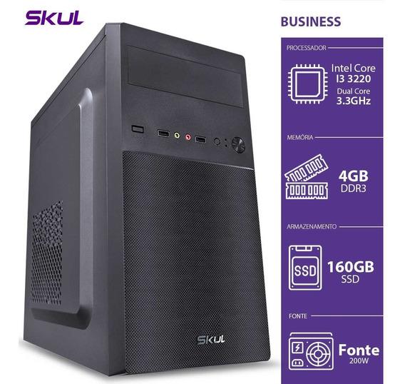 Computador Skul Business B300 I3, 4gb, Ssd 160gb, Fonte 200w