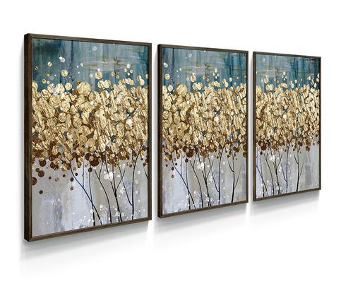 Quadro Decorativo Botânico Abstrato Dourado Gold Folhas Sala