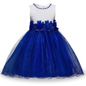 Vestido Infantil Juvenil Festa Florista Dama Azul Royal