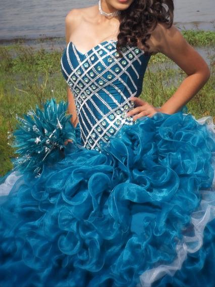 Vestido De Xv Años Azul Jade Con Pedrería