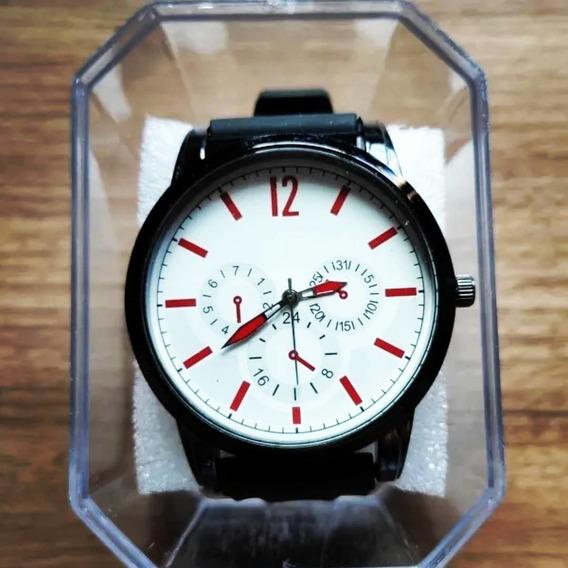 Relógio Masculino Alpha - White Red - Pronta Entrega