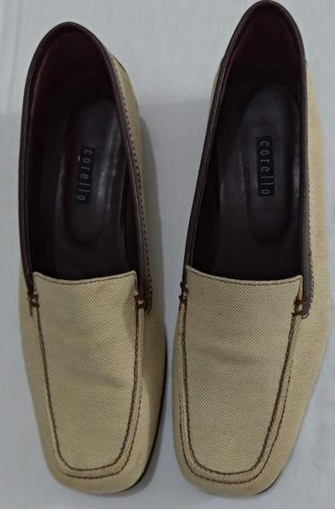 Sapato Corello Mocassim Clássico Lona E Couro Vintage Retrô