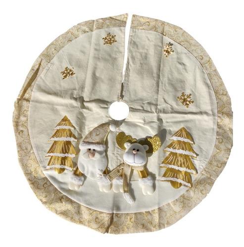 Pie De Arbol Dorado Navidad Santa Claus Muñeco Nieve Rodolfo