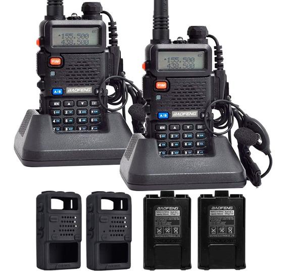 Kit Handy X2 Baofeng Uv5r 8w + 4 Baterias + 2 Manos Cargador