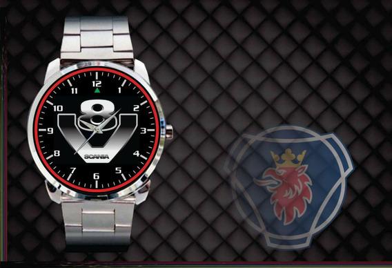 Relógio De Pulso Personalizado Logo Scania V8 Caminhão Carga