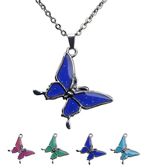 Collar Del Humor Dije Mariposa Cambia De Color