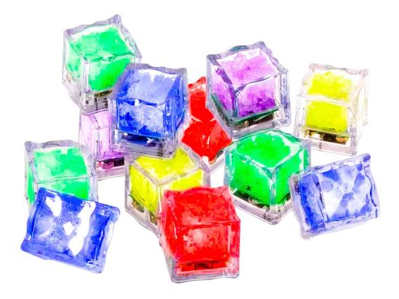 12 Cubo Hielo Led Luminoso Multicolor Mayoreo Boda Fiesta
