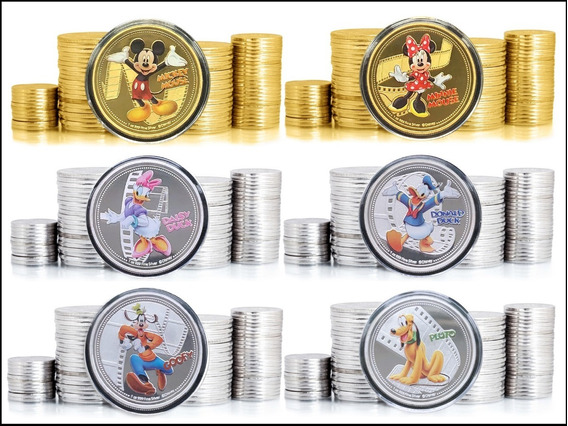 New Zealand Mickey & Cia. 6 Moedas Banh. Prata/ouro * C O L*