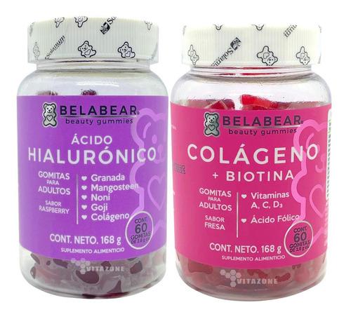 Imagen 1 de 7 de Colágeno + Biotina Y Ácido Hialurónico 60 Gomitas Belabear.