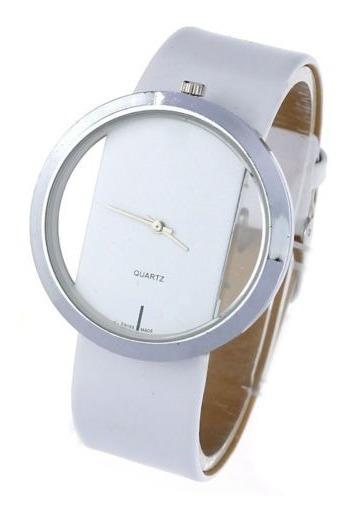 Relógio Masculino De Pulso Unisex Transparente - Branco