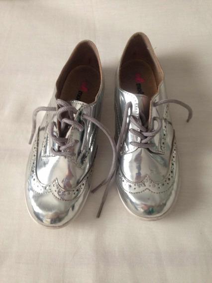 Sapato Prateado Molekinha Fashion Tam 31 Pouco Usado R$64,99