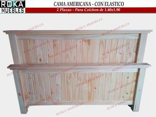 Cama Americano 2 Plazas Para Colchón De 1.40x1.90 Reforzado