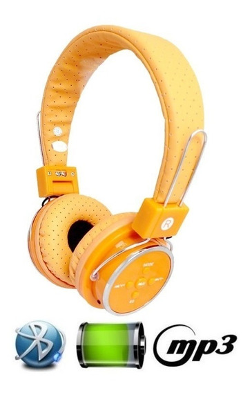 Fone De Ouvido Bluetooth Micro Sd Mp3 Rádio Fm Player Orange