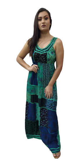 Vestido Longo Regata Patchwork Indiano Bordado