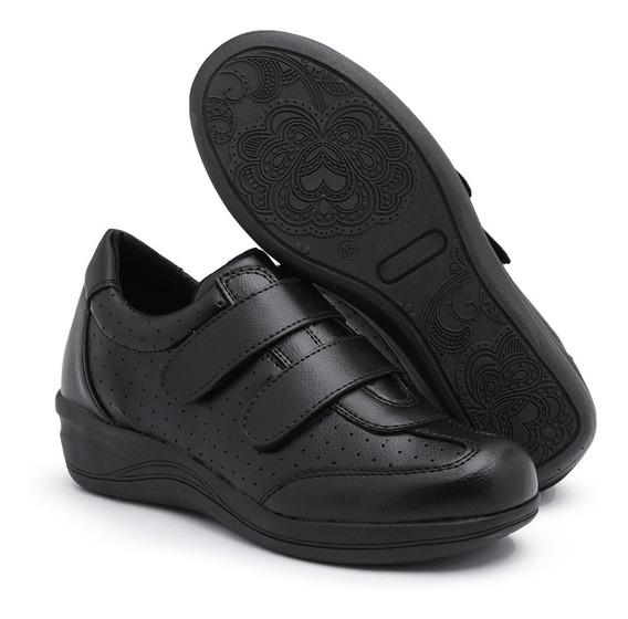 Sapato Tênis Feminino Anabela Couro Confort Promoção 4 Cores