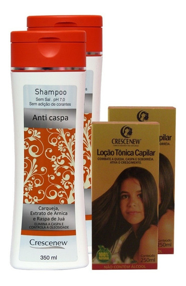 2 Shampoo 2 Loções Tônica Capilar Anti-caspa Crescenew