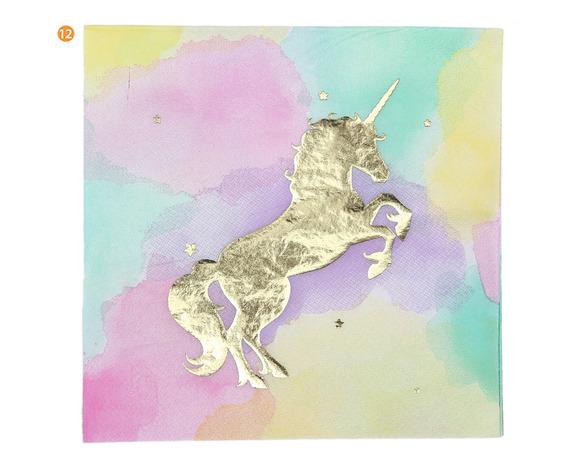 Servilletas Carton Unicornio Fondo Degrade X20u
