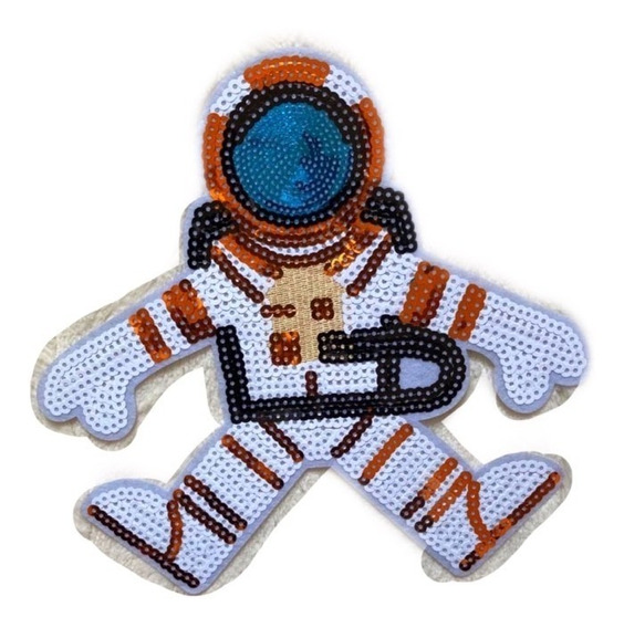 Parche De Astronauta Hecho 100% Con Sequin Con Adhesivo