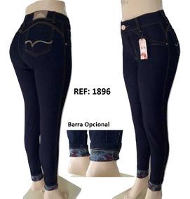 Calças Jeans Feminina Skiny Cós Cintura Média Com Lycra