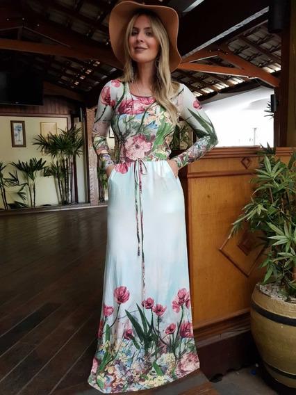 Vestido Longo Feminino Estampado Roupas Femininas Barato 757