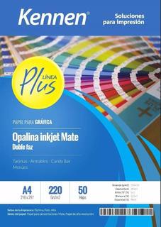 Papel Bifaz Kennen 220gr Mate P/ Tarjetas Carpetas X 50h A4