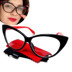 3fd00e67b Óculos Gatinho Cat Eye Classic Red Vermelho - Óculos no Mercado ...