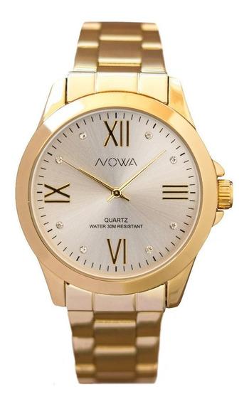 Relógio Original Nowa Dourado Strass Nw1024k Perfume Brinde
