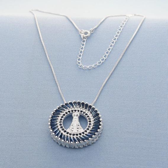 Mandala Nossa Senhora Com Pedras Azuis Folheado A Prata 5070