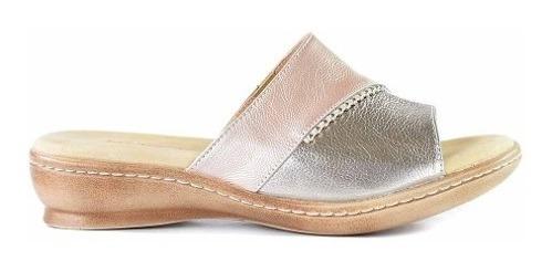 Sandalia Chinela Zapato Mujer Cuero Briganti Taco Mcch26053