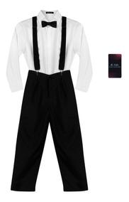 Conjunto Social Infantil Suspensório Juvenil Camisa Gravata