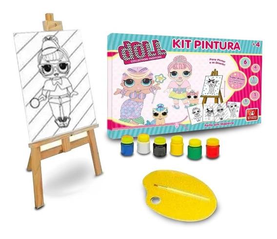 Kit Infantil Pintura Menina Princesa + Cavalete Pincel Tinta