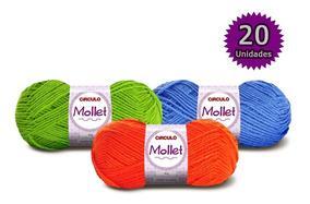 Lã Mollet Círculo Kit 20 Novelos Em 12x