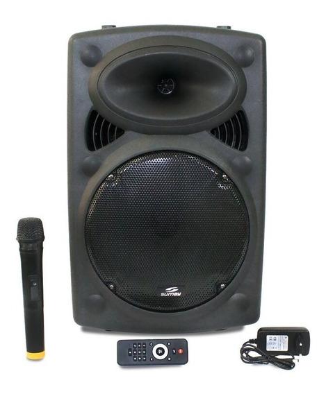 Caixa Som Amplificada Bluetooth 300wrms Fm, Aux, Microf,bt