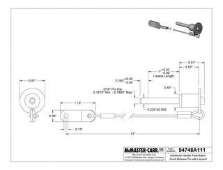 Pasador 1 X 3/16 Con Boton De Liberacion Rapida Mcmaster