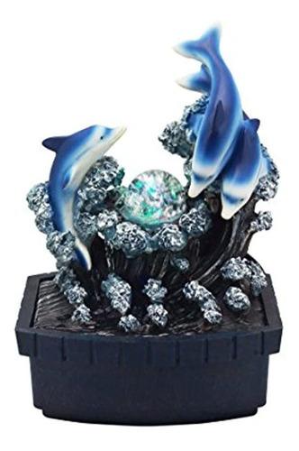 Fuente De Agua Con Delfines Con Luces Decorativa De Mesa