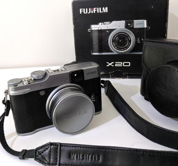 Camera Fujifilm X20 Caixa Capa Bolsa Couro 2 Alças 2 Bateria