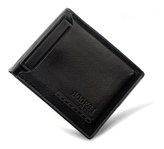 Carteira Masculina Porta Cartão Grande Em Couro Preto 12cm