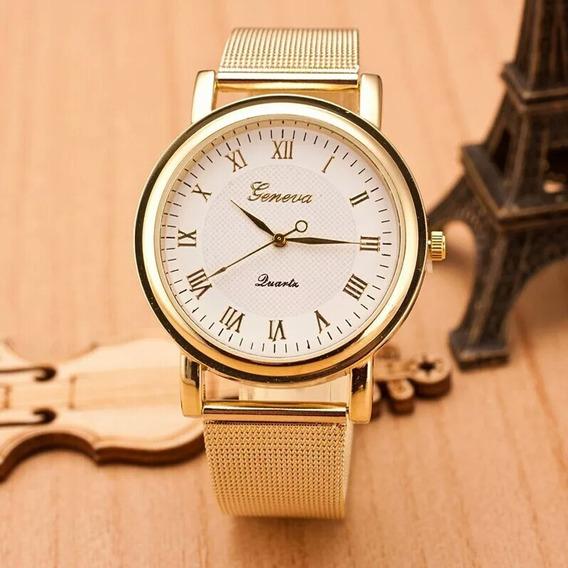 Relógio Feminino Original Geneva Dourado Rico Em Detalhes