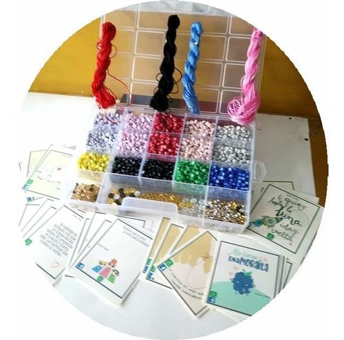 Imagen 1 de 9 de  Kit 1000 Letras Bisutería +hilos+dijes+tarjetas+caja Org.