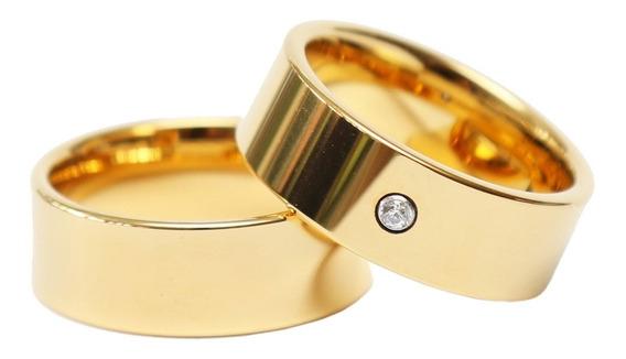 Par De Alianças Em Tungsténio Banhado A Ouro 24k 2 Modelos