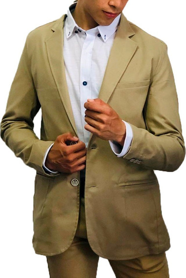 Blazer Saco Para Hombre Color Beige Clásico Peaceful