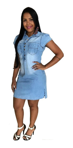 Roupas Femininas Vestido Médio Moda Evangélica Jeans Ref 015