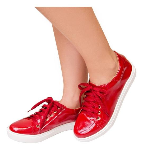 Tênis Da Moda Feminino Vermelho Verniz 2018