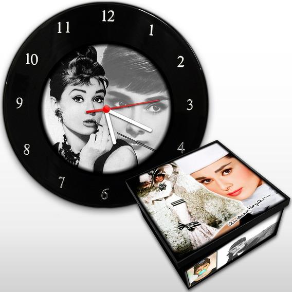 Audrey Hepburn - Kit Relógio De Parede + Caixa Mdf Vintage