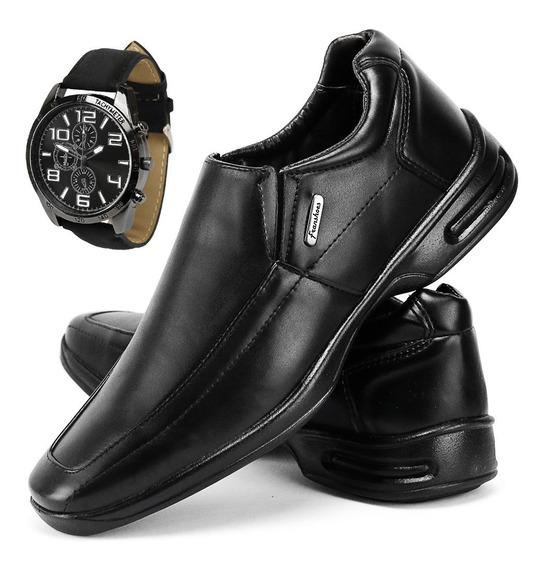 Sapato Masculino Anti Stress Ortopedico Palmilha Gel+relógio